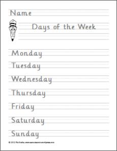 Mga Araw at Buwan Handwriting Worksheets