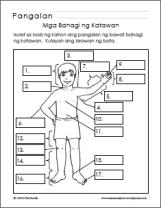 Mga Bahagi ng Katawan/Parts of the Body Worksheets   Samut-samot