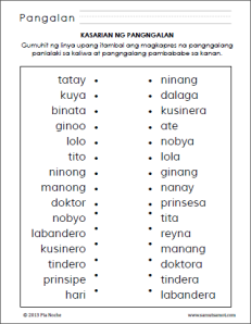 The worksheet below asks the student to identify the noun (from a ...