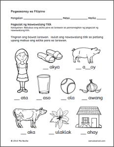 Isulat ang Nawawalang Titik Worksheets (Part 1) | Samut-samot