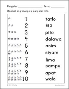 Mga Bilang 1 Hanggang 10 Worksheets | Samut-samot