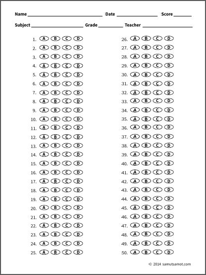 Free pdf Bubble Sheets | Samut-samot
