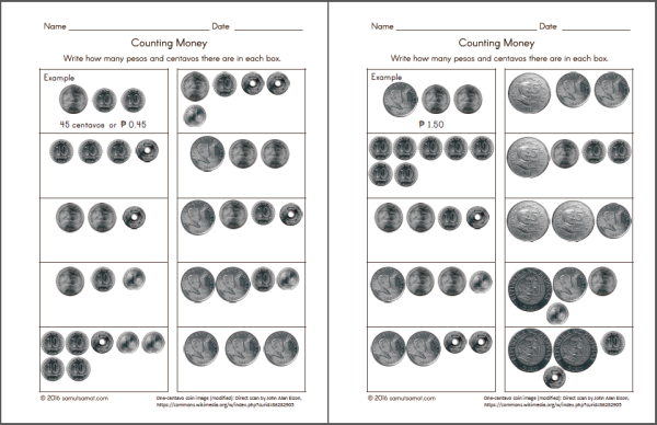 Philippine Money Chart and Worksheets | Samut-samot