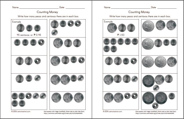 Philippine Money Chart And Worksheets Samut Samot