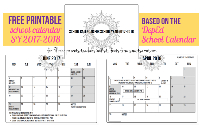 Free Printable Deped School Calendar 2017 2018 Samut Samot
